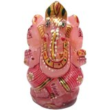 Rose Quatz Beautifully Hand Carved & Painted Lord Ganesha Statue