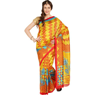 Parchayee Yellow Printed Art Silk Saree With Blouse