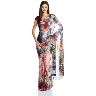 Parchayee Multicolor Printed Chiffon Saree With Blouse