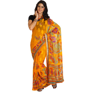 Iraya Yellow Printed Crepe Saree With Blouse