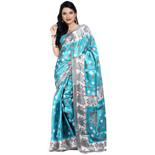 Parchayee Blue Printed Art Silk Saree Without Blouse