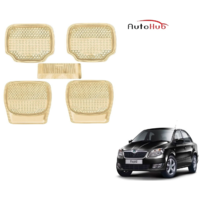 Auto Hub 3G Honey Beige Car Foot Mats For - Skoda Rapid - By AS Traders