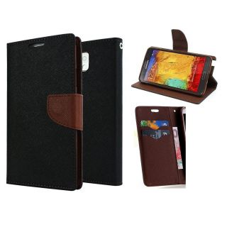 Micromax Canvas Play Q355 Wallet Diary Flip Case Cover Brown