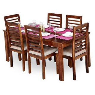 Earthwood - Modern Six Seater Sheesham wood Dining Set in Natural Finish