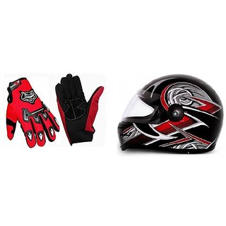 Combo Full Knighthood Gloves Red + Stylish ISI Mark Helmet