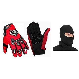 Combo Winter KnightHood Gloves Full (Red) +Facemask Balacalva