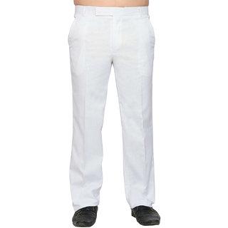 Lee Marc White Mid Rise Regular Fit Formal Trouser For Men