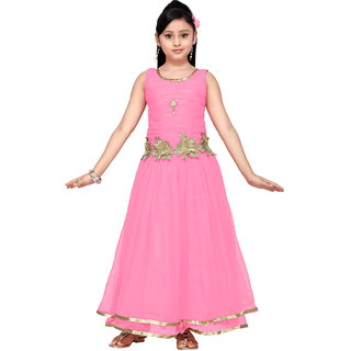 Aarika Girls Blue Self Design Net Gown