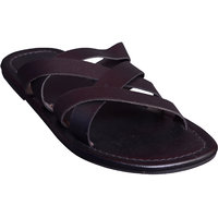 Suri Leather Stylish Cut-Out Slippe (13014G-BR)