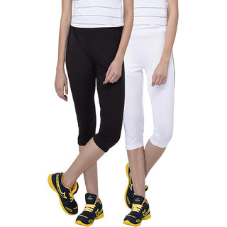 Espresso Women's Sportive Cotton Capris Pack of 2-Black/White