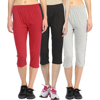 Espresso Womens Sportive Cotton Capris Pack of 3-Red/Black/Grey
