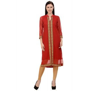 Pink Bling red georgette kurti with floral border.