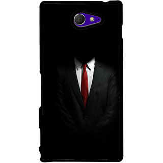 Ayaashii Black Suite Back Case Cover for Sony Xperia M2 Dual D2302::Sony Xperia M2
