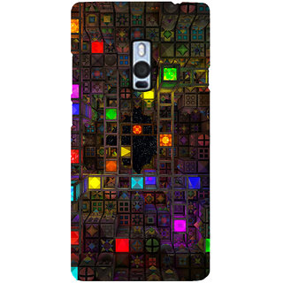 Ayaashii Square Abstract Back Case Cover for One Plus Two::One Plus 2::One+2
