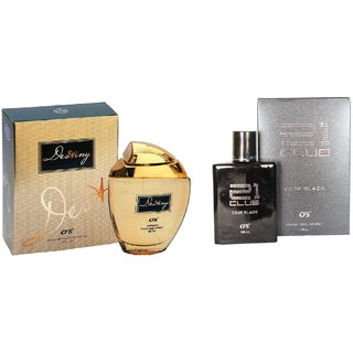 CFS Exotic Destiny Gold And 21  Club Black  Combo Perfume 200ML