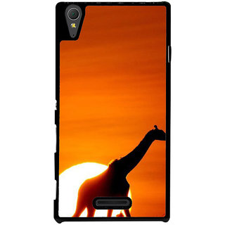 Ayaashii Giraffe At The Sun Set Back Case Cover for Sony Xperia T3