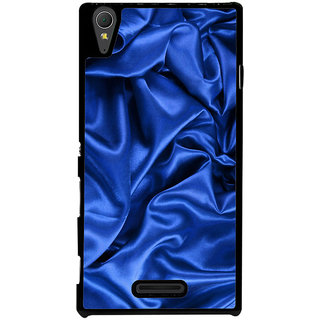 Ayaashii Blue Slik Cloth Back Case Cover for Sony Xperia T3