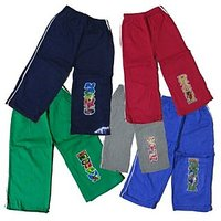 Multicolord Kids Cotton Track Pant Set Of-5