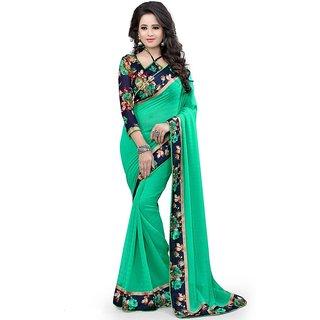 Pari Designerr Green  Chiffon  Self Design Saree With Blouse