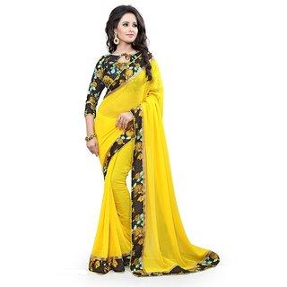 Pari Designerr Yellow  Georgette  Self Design Saree With Blouse