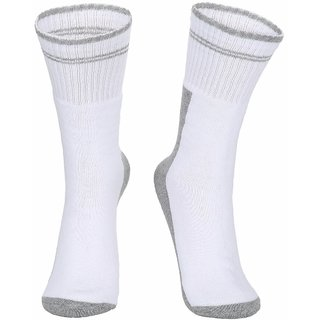 Dukk White and Grey Solid Cotton Lycra Crew Length Socks