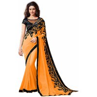 Pari Designer Orange Embroidered Georgette Saree