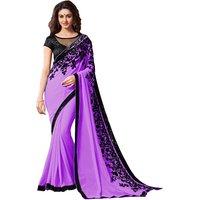 Pari Designerr Purple  Georgette  Embroidered Saree With Blouse