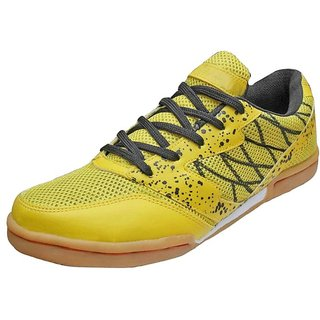 Port Mens Yellow P-501 PU Badminton Shoes
