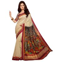 Pari Designer Beige Printed Silk Saree