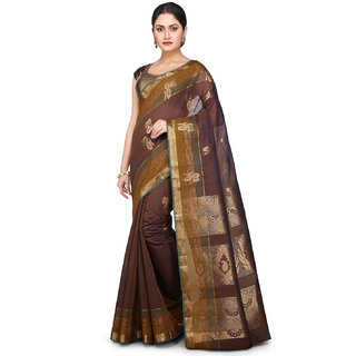 Kanchipuram Kora Silk and Cotton Saree in Brown and Blue