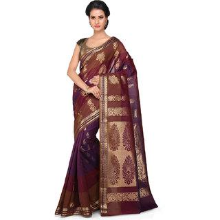 Kanchipuram Butter Silk and Cotton Saree in Violet