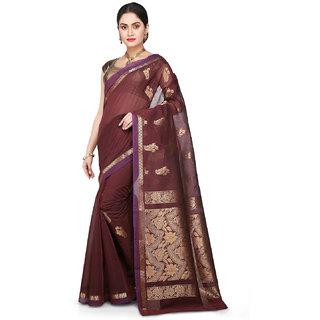 Kanchipuram Butter Silk and Cotton Saree in Dark Maroon