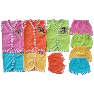 Sonpra Baby Cotton Baba Suits Jabla Bloomers Dress Combo Set