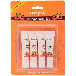 Banjara'S Facial Kit, Papaya (Pack Of 4)