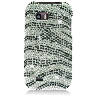 Eagle Cell PDTMMYTOUCHQF370 RingBling Brilliant Diamond Case for Huawei myTouch Q - Retail Packaging - Black/Silver Zebr