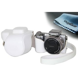 MegaGear Ever Ready Protective White Leather Camera Case , Bag for Sony NEX-5T 16-50mm Lens