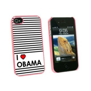 Graphics and More I Love Heart Obama - Snap On Hard Protective Case for Apple iPhone 4 4S - Pink - Carrying Case - Non-R