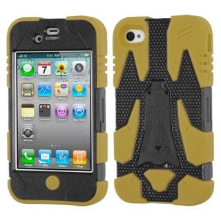 MyBat Apple iPhone 4s/4 Cyborg Hybrid Phone Protector Cover - Retail Packaging - Black/Yellow