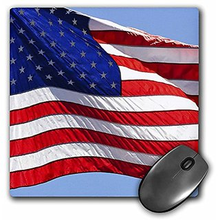 3dRose LLC 8 x 8 x 0.25 Inches Mouse Pad, American Flag - USA - Patriotic - Americana (mp_53611_1)