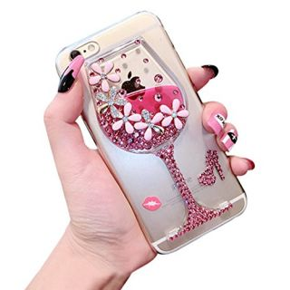 Dreams Mall(TM)Night Style Liquid Bottle Design with Flower & Diamond Hard Case Cover Protection for Apple iPhone 6 Plus