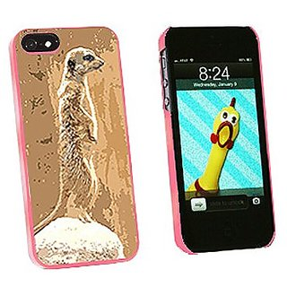 Graphics and More Inquisitive Meerkat Snap-On Hard Protective Case for iPhone 5/5s - Non-Retail Packaging - Pink