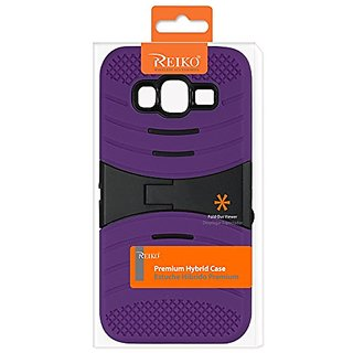 Reiko Hybrid Heavy Duty Kickstand Carrying Case for Samsung Galaxy J5 - Retail Packaging - Purple/Black