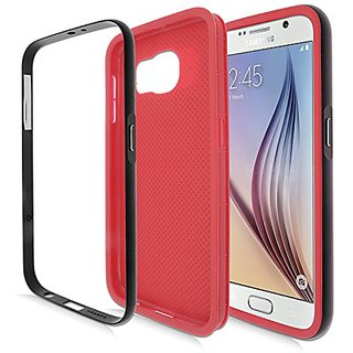 Eagle Cell Samsung Galaxy S6 TPU Case with Metal Bumper - Retail Packaging - Red/Black