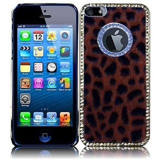 HR Wireless Executive Leopard Design Metal Diamond Protective Carrying Case for iPhone 5/5S - Retail Packaging - Brown