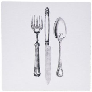 3dRose 8 x 8 x 0 25 Inches Black and White Vintage Cutlery Set Fancy Fork Knife and Spoon Drawing Restaurant Kitchen Che