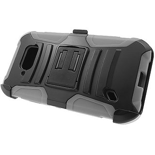 Eagle Cell Hybrid Case Stand/Belt Clip Holster for Samsung S6 Active G890 - Retail Packaging - Gray/Black