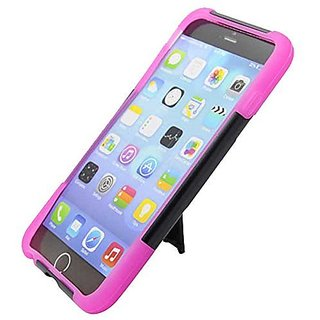 Eagle Cell Hybrid Protective Case with Stand for Apple iPhone 6 Plus - Retail Packaging - Hot Pink/Black