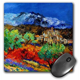 3dRose LLC 8 x 8 x 0.25 Inches Mouse Pad, Provence Landscape Olive Trees and Poppies (mp_21114_1)