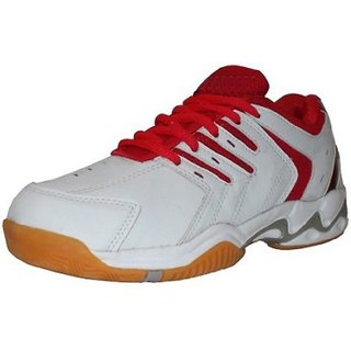 Port Red Super Spark Sports Badminton Shoes (White)