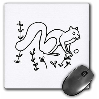 3dRose LLC 8 x 8 x 0.25 Inches Mouse Pad, Squirrel Sitting Outline Art Drawing (mp_21442_1)